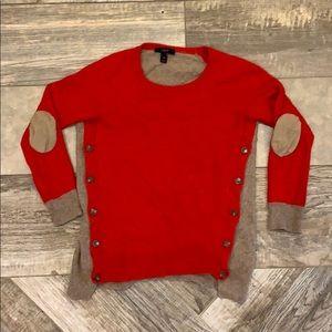 J. Crew XS red and tan sweater